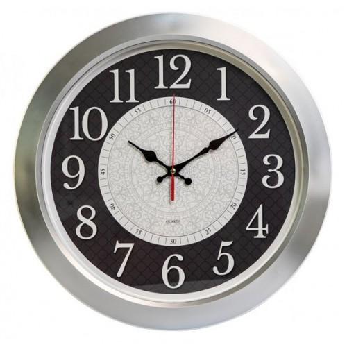 Часы настенные Бюрократ WallC-R67P D39см серебристый