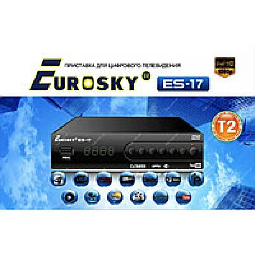 Цифровая приставка T2 Eurosky ES-17 DVB-T2 metal/display/2*USB