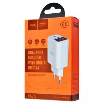 Зарядное устройство Borofone BA58A Mighty, 2 USB 2.4A, пластик огнестойкий, дисплей, цвет: белый