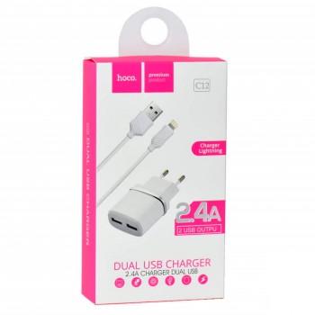 Зарядное устройство Hoco C12, 2 USB, 2400mA, пластик, кабель Apple 8 pin (1/10/100)