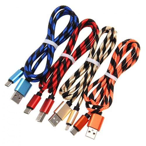 Кабель NN Micro USB шнур тканевый конц. металл