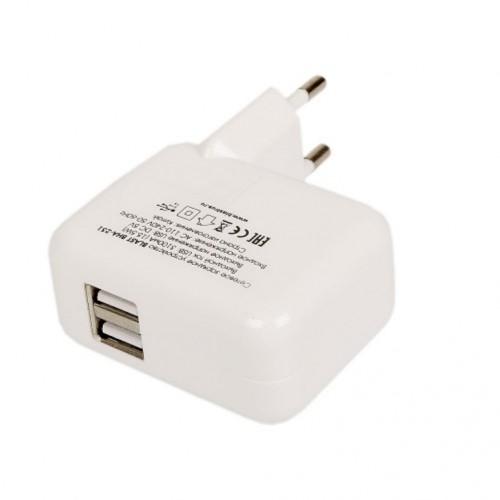 Зарядное устройство Blast BHA-231, 2 x USB, 3А, белый, блистер.