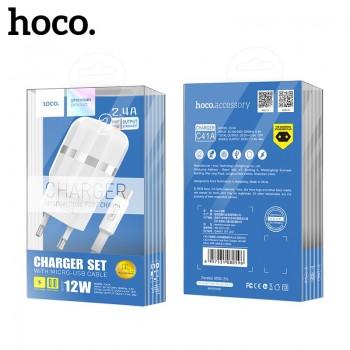 Зарядное устройство Hoco C78A MAX ENERGY 2.4A +Apple 8pin Индикация (белый)