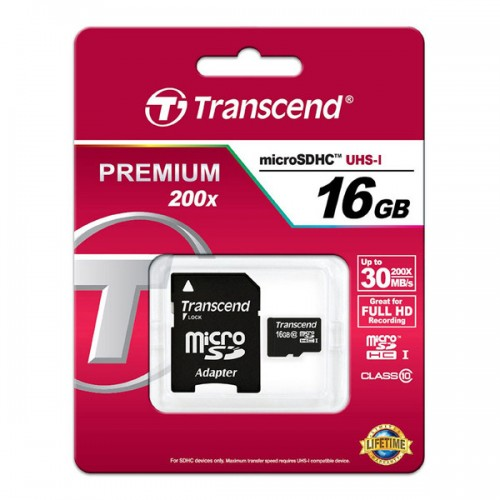 Карта памяти Transcend Premium 200X 16GB Class 10 + adapter