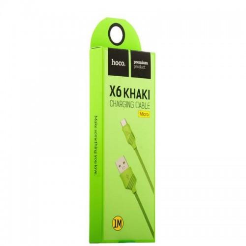 Кабель Hoco X6m Khaki USB - MicroUSB (черный)