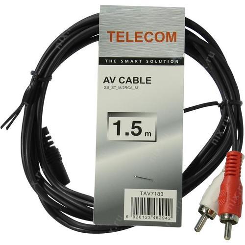 Кабель Telecom 3.5 Jack (M) / 2x RCA (M), стерео, аудио, 1,5м. (1