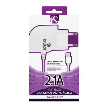 Зарядное устройство Krutoff CH-11 micro USB+1USB 2.1A bl/wh