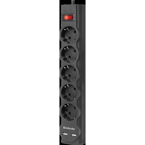 Сетевой фильтр Defender DFS751, 5 розеток, черный, 1,8 м, 2xUSB,
