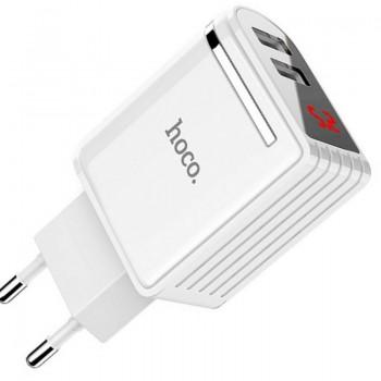 Зарядное устройство Hoco C39А, 2 USB 2400mA, пластик, дисплей, цвет: белый (1/24/144)