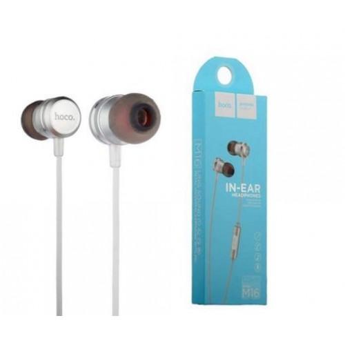 Наушники Hoco M16, Ling Sound, микрофон, кабель 1.2м, цвет: сереб