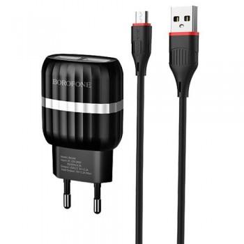 Зарядное устройство Borofone BA24A Vigour 2 USB, 2100mA, пластик, кабель Type-C, цвет: чёрный