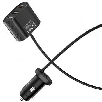 Зарядное устройство Hoco Z35A Companheiro, 3 USB 2400mAh, LED, разветвитель, кабель 1.2м, цвет: чёрный