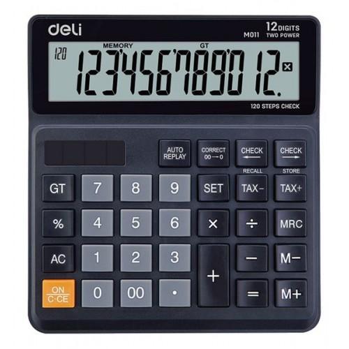 Калькулятор бухгалтерский Deli EM01120 черный 12-разр