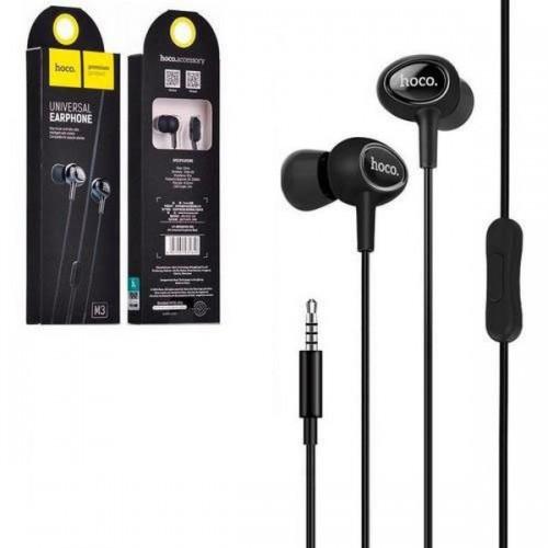 Наушники Hoco M3, микрофон, кнопка ответа, кабель 1.2м, цвет: чёр