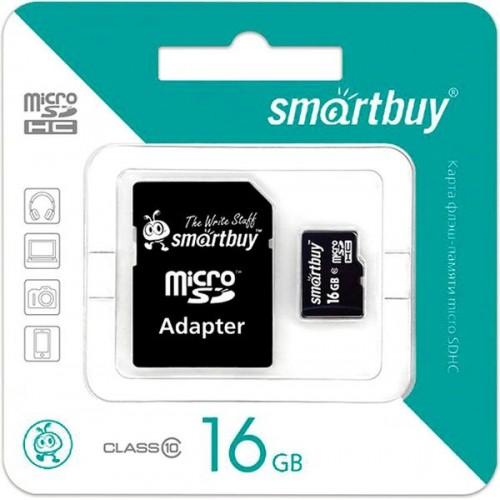 Карта памяти Smartbuy 16GB Class 10 UHS-I + SD адаптер