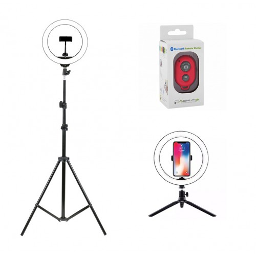 Кольцевая led лампа Д26 + штатив + пульт Bluetooth