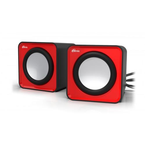 Колонки Ritmix SP-2020, USB 2.0, черный/красный. Выходная мощност