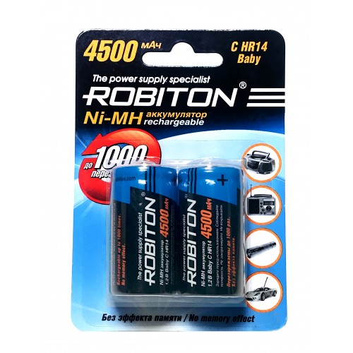 Аккумулятор Robiton С R14 (4500 mAh) (2x) 50 / 200 (цена за 1 шт