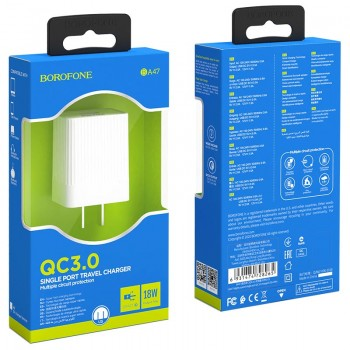 Зарядное устройство Borofone BA47A Mighty, 3A, 1 USB, пластик, цвет: белый