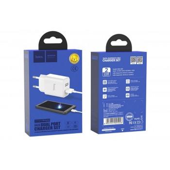Зарядное устройство Hoco C62A Виктория 2100мА + MicroUSB (белый)