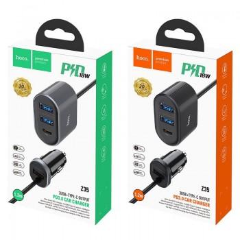 Зарядное устройство Hoco Z35 Companheiro, 3 USB 3000mA, PD, QC3.0, с удлинителем, цвет: чёрный