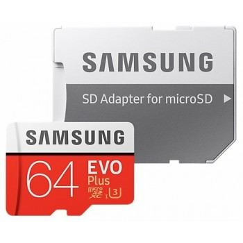 Карта памяти Samsung 64GB MB-MC64GA EVO Plus U3 100MB/s + SD adapter