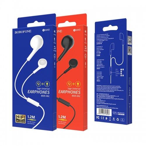 Наушники Borofone BM40 Sage, внутриканальные, мик, кнопка ответа,