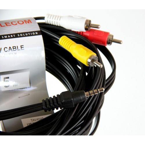 Кабель соединительный Telecom 3.5 Jack (M) / 3 RCA (M), 1.5 м. (1