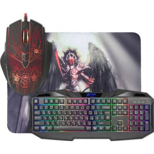 Набор Defender Anger MKP-019 RU, клавиатура+мышь+ковер, Игровая к