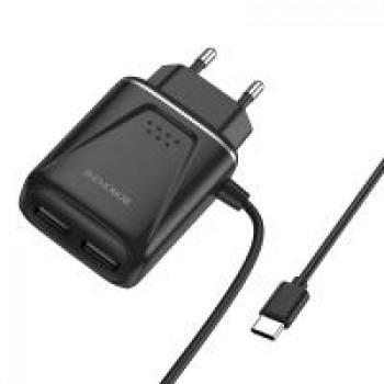 Зарядное устройство Borofone BA50A Beneficence, 2 USB 2400mA, пластик, кабель Type-C, цвет: чёрный