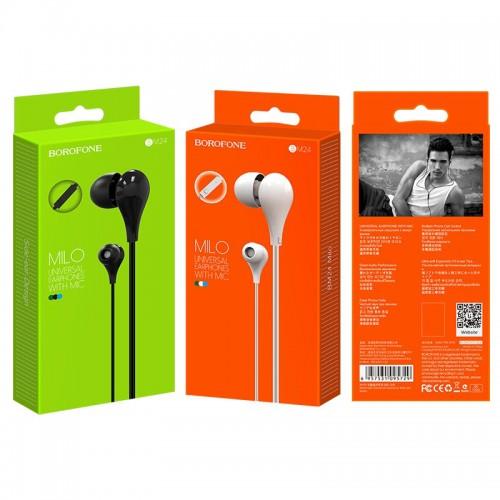 Наушники Borofone BM24 Milo, микрофон, кабель 1.2м, цвет: чёрный