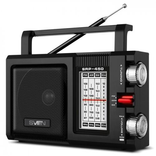 Радиоприемник Sven SRP-450, мощность 3 Вт (RMS), FM/AM/SW, USB, S