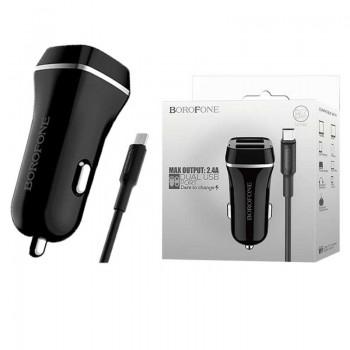 Зарядное устройство Borofone BZ2 JoyRoad, 2 USB 2400mA, пластик, с кабелем Apple 8 pin, цвет: белый
