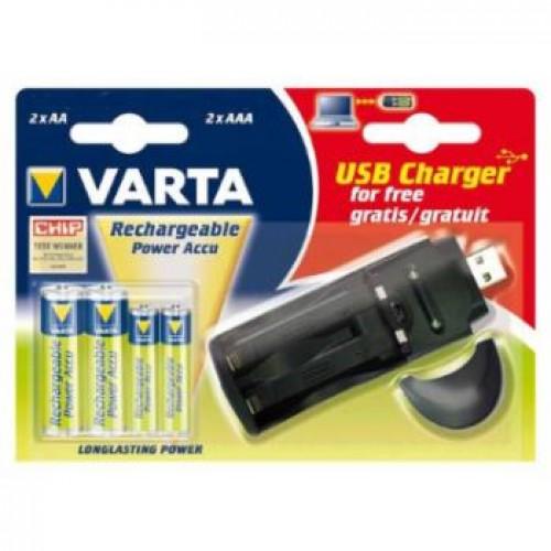 Зарядное устройство Varta AA/AAA 2 слота+USB +2AA 2700mAh/2AAA 10