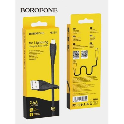 Кабель Borofone BX38 USB (m)-Lightning (m) 1.0м 2.4A ткань черный...