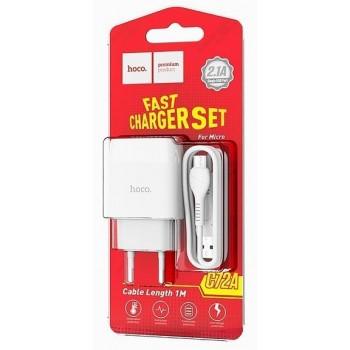 Зарядное устройство 1 USB HOCO, C72A, Glorious, 2100mA, пластик, кабель Type-C, цвет: белый