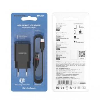 Зарядное устройство 2 USB Borofone, BA53A, Powerway, 2100mA, пластик, кабель 8 pin, цвет: чёрный
