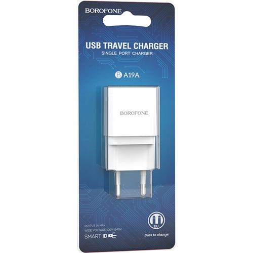Зарядное устройство Borofone BA19A Nimble, 1 USB 1A, пластик, цве