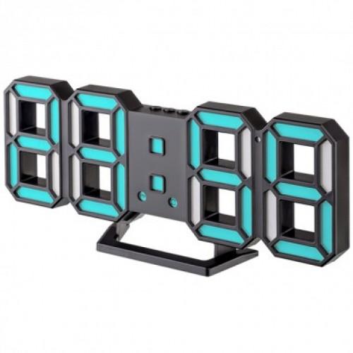 Электронные часы LED Perfeo LUMINOUS 2, черный корпус / синяя под