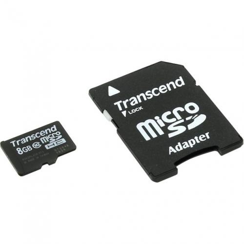 Карта памяти TRANSCEND 8 Гб Class 10 + adapter