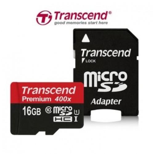 Карта памяти TRANSCEND Premium 400X 16 Гб Class 10 + adapter