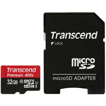 Карта памяти TRANSCEND Premium 400X  32 Гб Class 10 + adapter